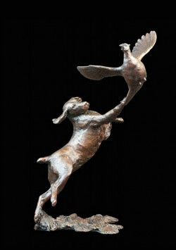 Picture of Springer Spaniel with Pheasant Bronze Figurine (Limited Edition) Michael Simpson LAST FEW LEFT