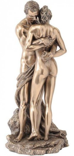 Picture of Bronze Nude Couple Holding Hands Figurine 28cm