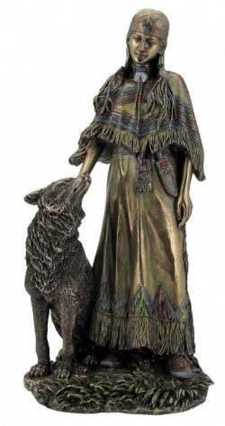 Picture of Native American Woman with Wolf Bronze Figurine 30cm