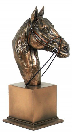 Picture of Horse Head Bronze Sculpture on Plinth (Medium) 21cm