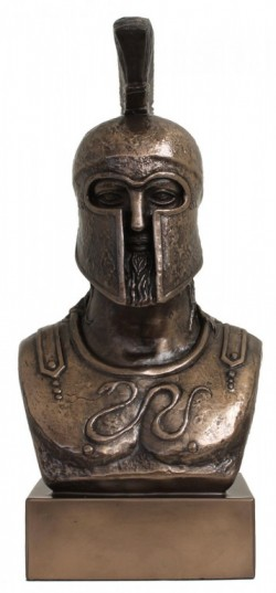 Picture of Greek Warrior Bust Figurine Bronze 30 cm