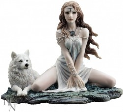 Picture of Storm Maiden Lady and Wolf Figurine 16.5cm