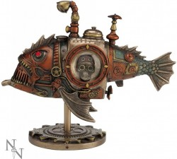 Picture of Steampunk Piranha Submarine Bronze Figurine 22.5cm