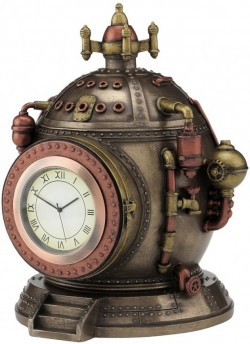 Picture of Steampunk Time Clock Bronze Figurine SECRET COMPARTMENT 15.5cm