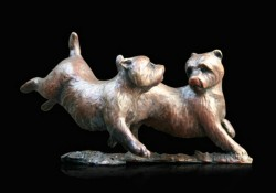 Picture of Westie Pair Running and Playing Bronze Figurine (Limited Edition) Michael Simpson