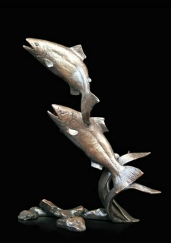 Picture of Salmon Pair Leaping Bronze Figurine (Limited Edition) Michael Simpson LAST FEW LEFT