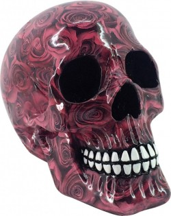 Picture of Red Roses Romance Skull 19cm