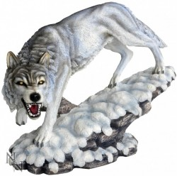 Picture of Prowling Winter Wolf Figurine 40cm LARGE