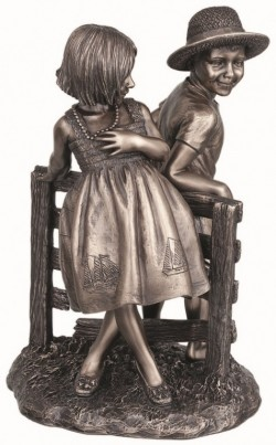 Picture of Happy Summer Boy and Girl Bronze Figurine 22cm