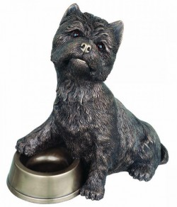 Picture of Westie with Bowl Bronze Large Dog Ornament 33cm