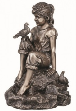 Picture of Peace Girl and Doves Bronze Figurine 20cm