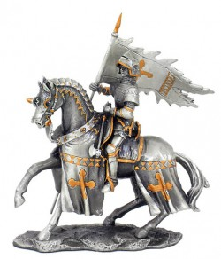 Picture of Knight on Horse with Flag Pewter Figurine