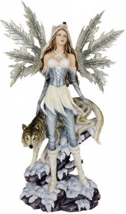 Picture of Ice Princess and Wolf Fairy Statue Large 44cm