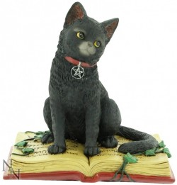 Picture of Black Cat on Spell Book Figurine 12cm