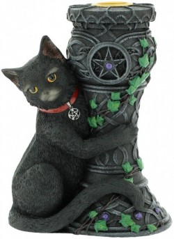 Picture of Midnight Black Cat Candle Holder 15cm