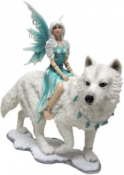 Picture of Frostine Fairy Wolf Rider Statue