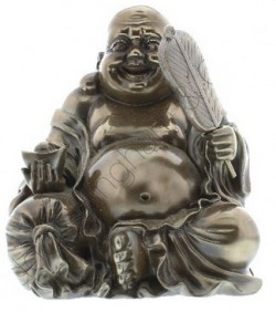 Picture of Sitting Wealth Buddha Figurine Polished Bronze (Juliana) 21cm