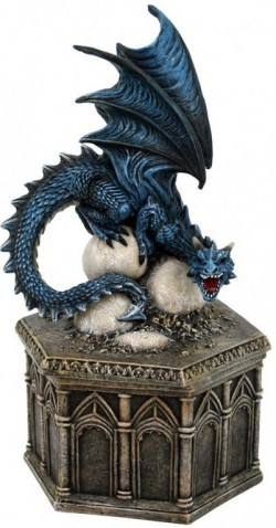 Picture of Roost of Cryondrix Figurine Blue Dragon Box 24cm