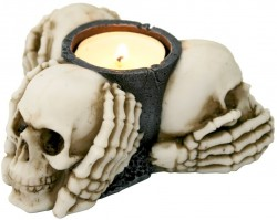 Picture of Three Wise Skulls Tealight Holder