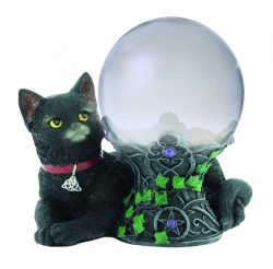 Picture of Black Cat Figurine with Crystal Ball 16cm