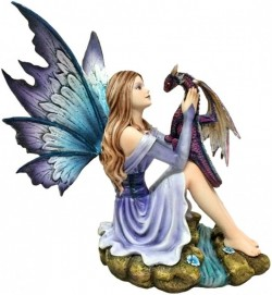 Picture of Blossoming Basilisk Fairy and Dragon Figurine 27cm