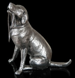 Picture of Labrador with Lead Sitting Nickel Plated Figurine 27 cm Michael Simpson