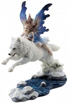 Picture of Free Spirit Fairy Wolf Rider Statue 23.5cm