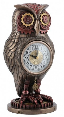 Picture of Steampunk Owl Heavyweight Clock Bronze Figurine 27 cm