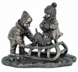 Picture of Winter Fun Boy and Girl Bronze Figurine 20cm