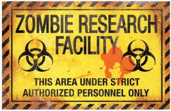 Picture of Zombie Research Facility Metal Sign 43cm x 28cm LARGE