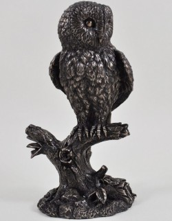 Picture of Barn Owl on Branch Bronze Sculpture 20cm