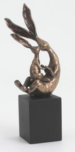 Picture of Rabbit with Baby Sitting on Block Sculpture 19 cm
