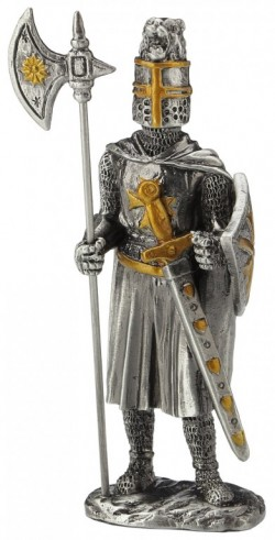 Picture of Knight Crusader with Halberd and Long Sword Pewter Figurine