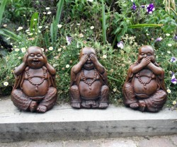 Picture of Three Wise Buddha Statues (Set of 3) 20 cm Burnt Umber Finish
