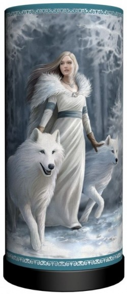 Picture of Winter Guardians Wolf Cylindrical Table Lamp (Anne Stokes) 28 cm