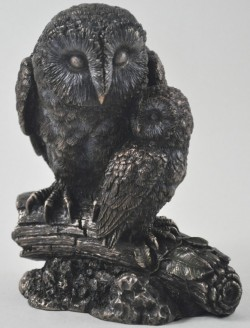 Picture of Owl and Baby Bronze Figurine