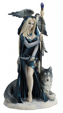 Picture of Arcana the Shaman Lady and Wolf Figurine (Ruth Thompson) 29cm