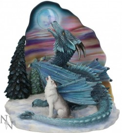 Picture of Moonsong Dragon and Wolf Figurine (Ed Beard Jr) 23cm