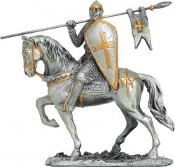 Picture of Crusader on Horse with Flag and Shield Pewter Figurine