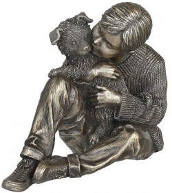 Picture of Grow Together Bronze Boy and Dog Figurine