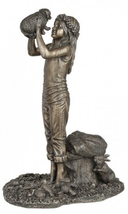 Picture of Grow Together Bronze Girl and Dog Figurine 25 cm