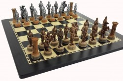 Picture of Knights Chess Set Silver and Bronze Finish
