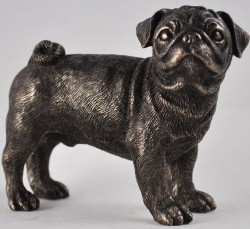 Picture of Pug Standing Bronze Dog Sculpture Small