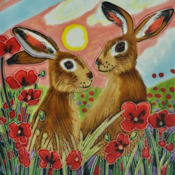 Picture of Sharing Sundown Hares Wall Decor 20cm