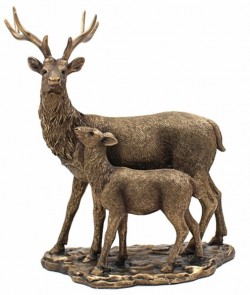 Picture of Bronzed Stag and Fawn Figurine (Leonardo Collection) 33 cm Large
