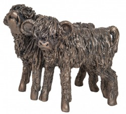 Picture of Highland Cattle Heifer Calves Bronze Sculpture