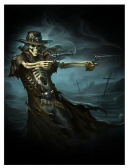 Picture of Gun Slinger Skeleton Cowboy 3D Picture 28.5 x 38.5cm.