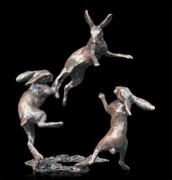 Picture of Hares Dancing Bronze Miniature COLLECTION CENTRE PIECE (Butler and Peach)