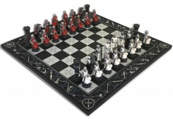 Picture of Knights Chess Set with Medieval Design Chess Board