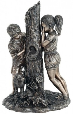 Picture of Hide and Seek Boy and Girl Bronze Figurine 24cm